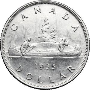 reverse: Canada.  George V (1910-1936).. Dollar 1935