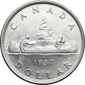 reverse: Canada.  George VI (1936-1952).. Dollar 1937