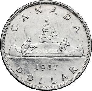 reverse: Canada.  George VI (1936-1952).. Dollar 1947, blunt 7