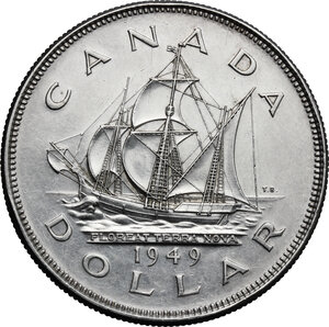 reverse: Canada.  George VI (1936-1952).. Dollar 1949