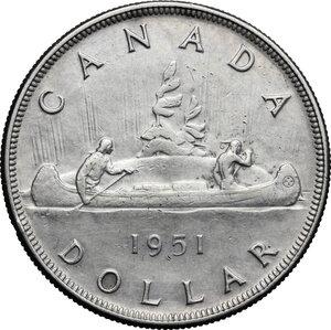 reverse: Canada.  George VI (1936-1952).. Dollar 1951