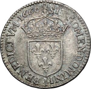 reverse: France.  Louis XIV (1643-1715). 1/12 ecu a la meche longue 1660 I, Limoges mint