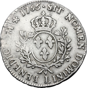 reverse: France.  Louis XV (1715-1774). Ecu au bandeau 1765 L, Bayonne mint
