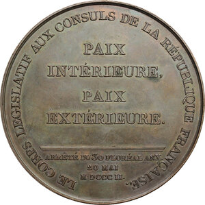 reverse: France.  Napoleon as First Consul (1799-1804). . Medal 20 May 1802 for the Promulgation of the Treaty of Amiens
