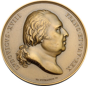 obverse: France.  Louis XVIII (1814-1824), King of France. AE Medal. Arrival at Calais. Dated 24 April 1814