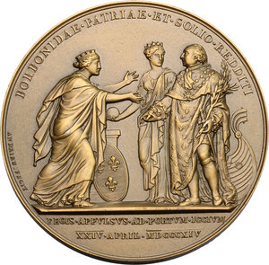 reverse: France.  Louis XVIII (1814-1824), King of France. AE Medal. Arrival at Calais. Dated 24 April 1814
