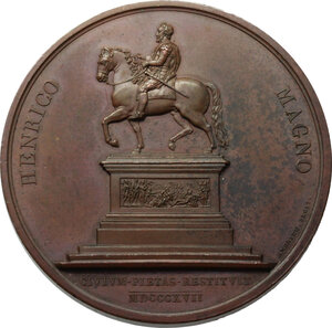 reverse: France.  Louis XVIII (1814-1824), King of France. Medal for the Restoration of Henri IV Equestrian Statue, 1817