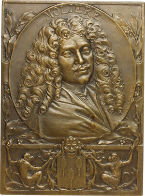 obverse: France.  Jean-Baptiste Poquelin (1622-1673), known as Molière . Plaque 1922 for hte 3rd centenary of Moliere s birth