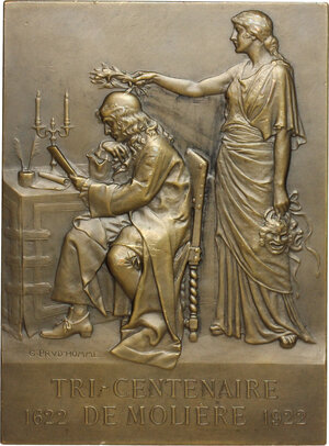 reverse: France.  Jean-Baptiste Poquelin (1622-1673), known as Molière . Plaque 1922 for hte 3rd centenary of Moliere s birth