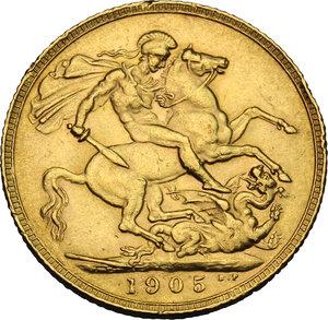reverse: Great Britain.  Edward VII (1901-1910). Sovereign 1905