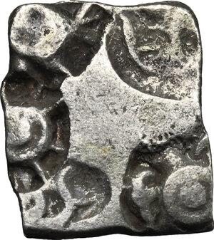 obverse: India.  Mauryan Empire (340-181 BC). Karshapana