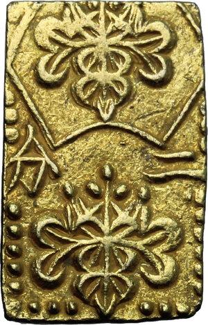 obverse: Japan.  Edo Period (1603-1868). Ni Bu Ban Kin  (2 Bu size  gold), 1856-1960. 20 x 12 mm