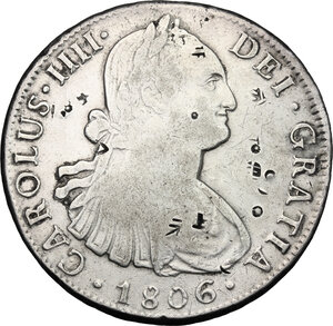 obverse: Mexico.  Charles IV (1788-1808).. Chopmarked 8 Reales 1806 TH, Mexico City
