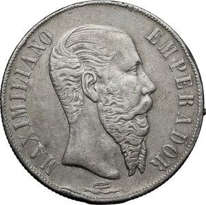obverse: Mexico.  Maximilian I von Habsburg (1864-1867). Peso 1866, Mo (Mexico City)