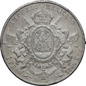 reverse: Mexico.  Maximilian I von Habsburg (1864-1867). Peso 1866, Mo (Mexico City)