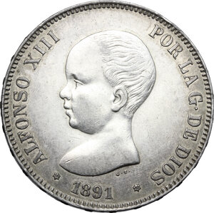 obverse: Spain.  Alfonso XIII (1886-1931).. 5 pesetas 1891 (91) PG/M, Madrid