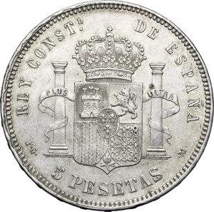 reverse: Spain.  Alfonso XIII (1886-1931).. 5 pesetas 1891 (91) PG/M, Madrid
