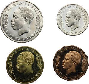 reverse: Tanzania. 1966 Bank of Tanzania 4 Coin Proof Set - Royal Mint.  Shilingi Moja 1, Ishirini 20 Senti, Hassini 50 Senti and Tano 5 Senti