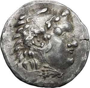 obverse: Celts in Eastern Europe.  Thrace, Mesembria. AR Tetradrachm in the name and types of Alexander III of Macedon, 150-125 BC