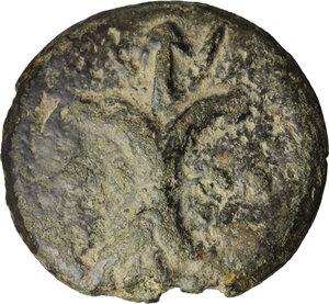 reverse: Dioscuri/Mercury series.. AE Cast Triens, c. 275-270 BC