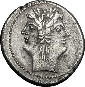 obverse: Anonymous. AR Quadrigatus, c. 225-214 BC