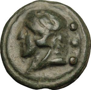 obverse: Janus/prow to right libral series.. AE Cast Quadrans, c. 225-217 BC