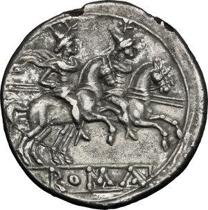 reverse: Anonymous. Fourrée Denarius, after 211 BC