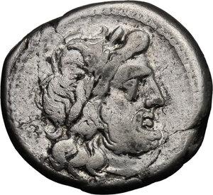 obverse: Cn. Baebius Tamphilus. AR Victoriatus, c. 194-190 BC