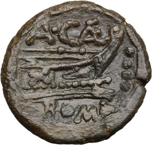 reverse: A. Caecilius.. AE Triens, c. 169-158 BC