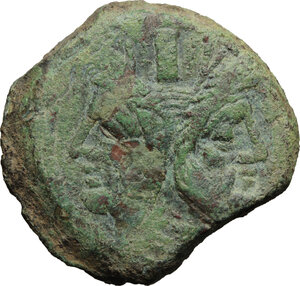 obverse: Butterfly and vine branch series.. AE As, c. 169-158 BC