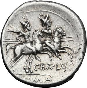 reverse: C. Terentius Lucanus.. AR Denarius, 147 BC