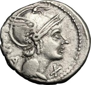 obverse: L. Flaminius Chilo.. AR Denarius, 109 or 108 BC