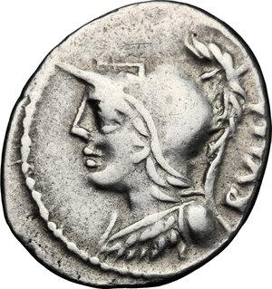 obverse: P. Servilius M.f. Rullus.. AR Denarius, 100 BC