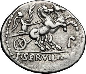 reverse: P. Servilius M.f. Rullus.. AR Denarius, 100 BC