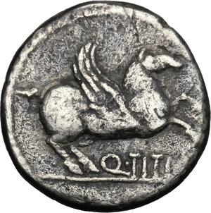 reverse: Q. Titius. AR Quinarius, 90 BC