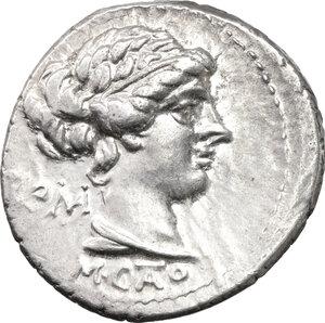 obverse: M. Cato.. AR Denarius, 89 BC