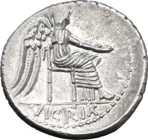 reverse: M. Cato.. AR Denarius, 89 BC