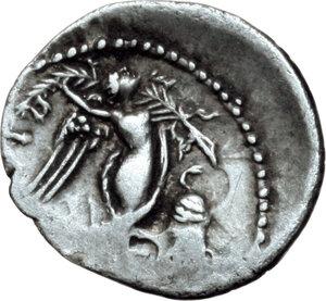 reverse: L. Rubrius Dossenus.. AR Quinarius, circa 87 BC