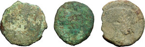 obverse: Etruria, Populonia. Multiple lot of three (3) AE coins, late 3rd century BC