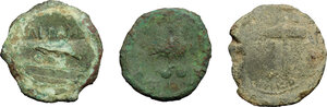 reverse: Etruria, Populonia. Multiple lot of three (3) AE coins, late 3rd century BC