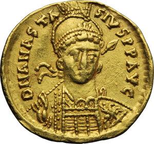 obverse: Anastasius I (491-518).. AV Solidus, Constantinople mint, c. 492-507 AD