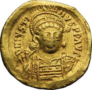obverse: Justin I (518-527).. AV Solidus, Constantinople mint, c. 518-519 AD