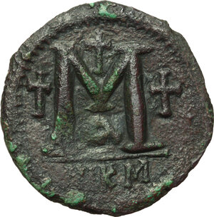 reverse: Justinian I (527-565).. AE Follis, Nicomedia