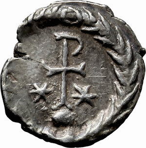 reverse: Justinian I (527-565).. AR Half Siliqua, Ravenna