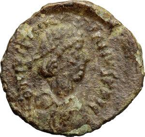 obverse: Justinian I (527-565).. AE Pentanummium, uncertain mint