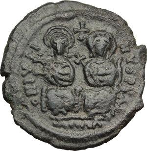 obverse: Justin II (565-578).. AE Follis, Cyzicus mint