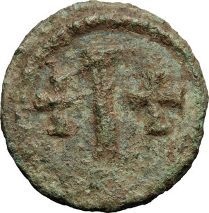 reverse: Tiberius II Constantine (578-582).. AE Decanummium, Sicilian mint
