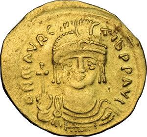 obverse: Maurice Tiberius (582-602).. AV Solidus, Constantinople mint