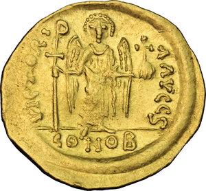 reverse: Maurice Tiberius (582-602).. AV Solidus, Constantinople mint