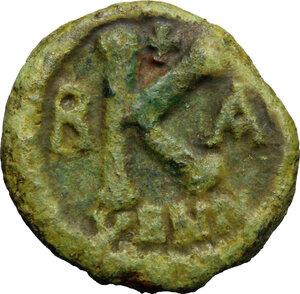 reverse: Maurice Tiberius (582-602).. AE Half Follis, Ravenna mint